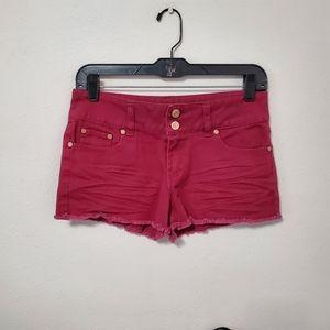 Refuge Women's Red Fringed Shorts